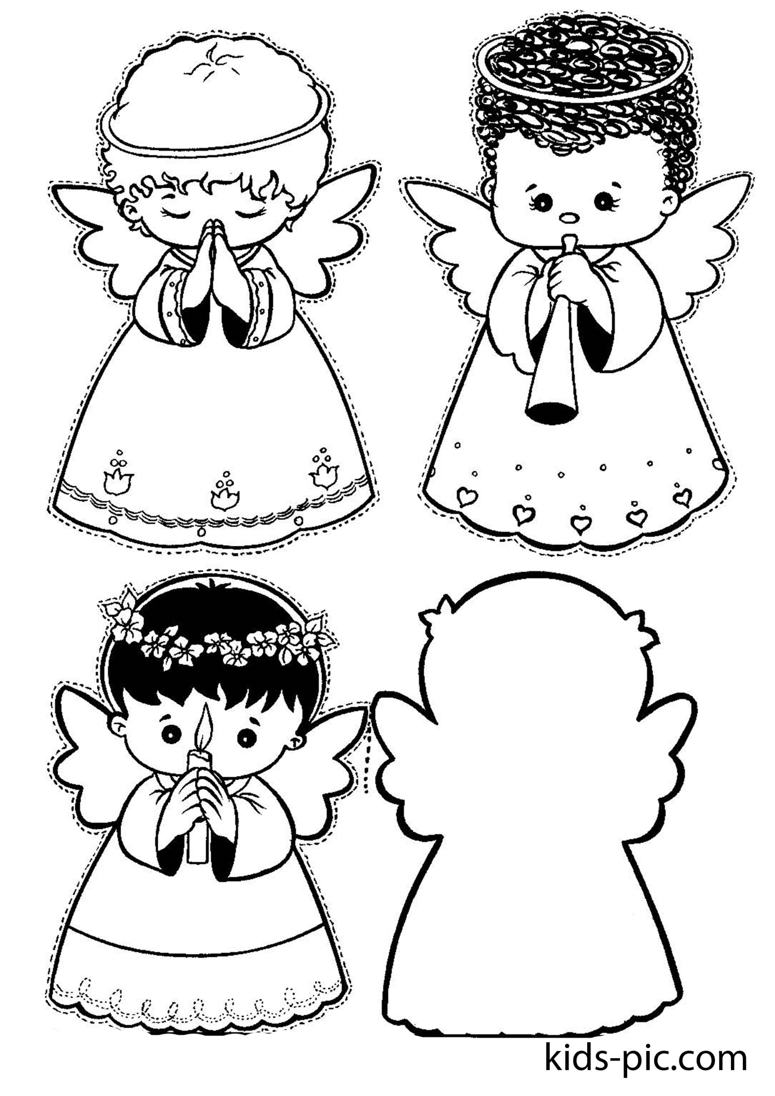Шаблоны ангелов для открытки, днем рождения
