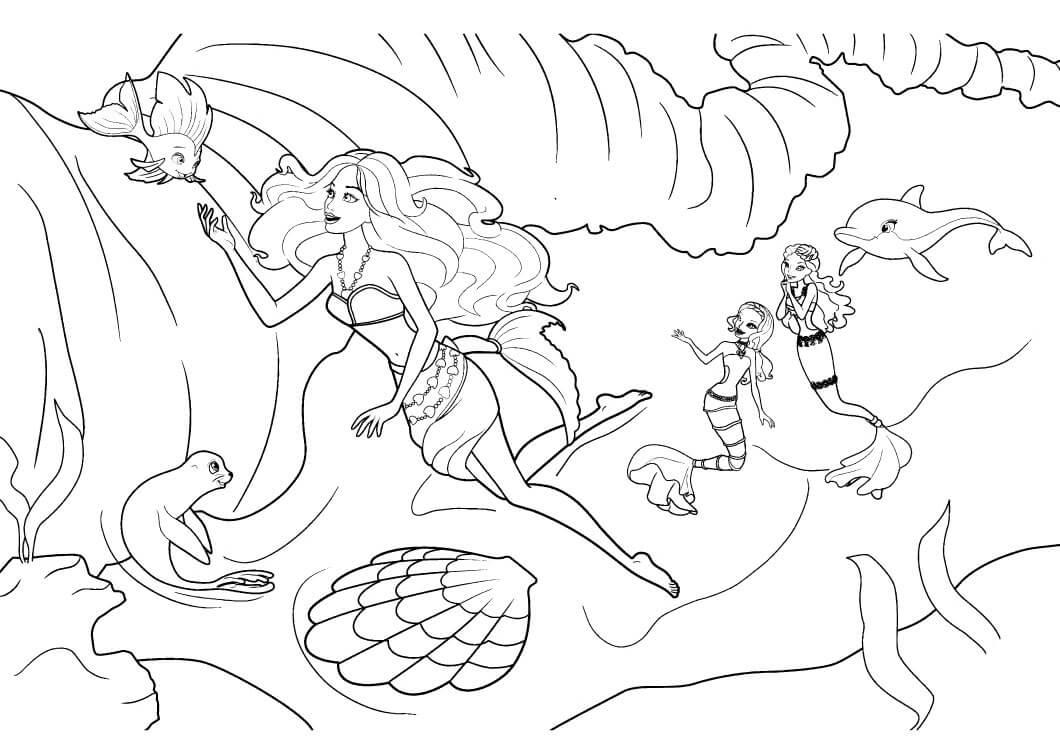 раскраски барби русалка играет с рыбками распечатать
