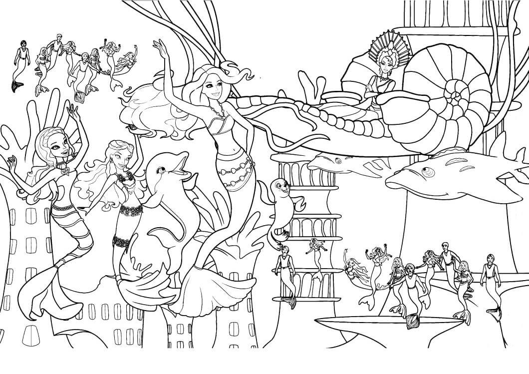 раскраски барби русалки распечатать вечеринка русалок