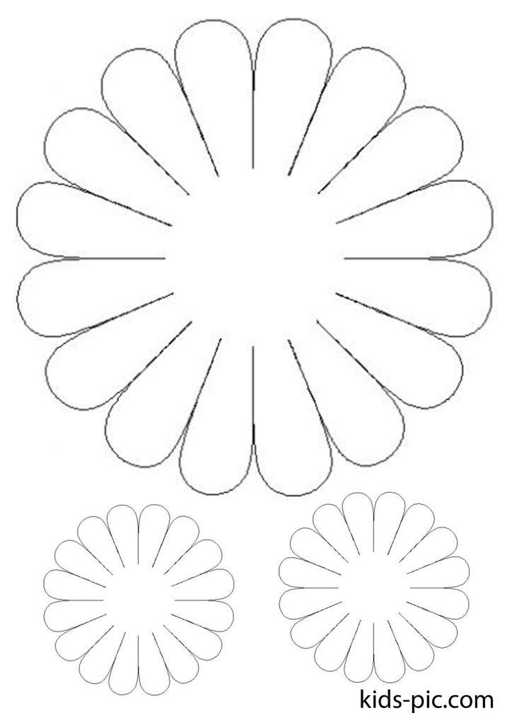 шаблон ромашки для вирізання з паперу А4 - 1