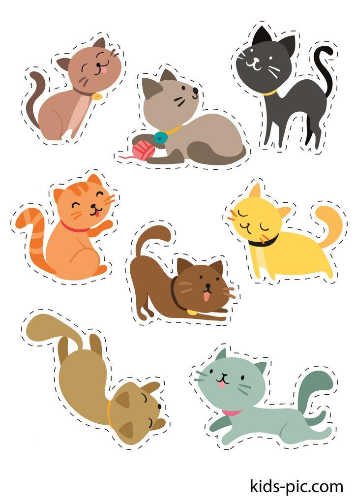 яскраві шаблони різнокольорових кішок для вирізання з паперу роздрукувати