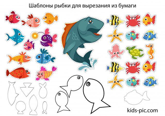 шаблон рыбки для вырезания из бумаги распечатать