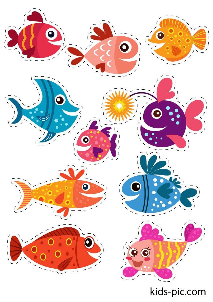 шаблон кольорових рибок для вирізання з паперу роздрукувати