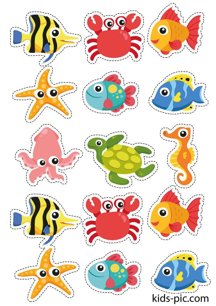 шаблон морских животных и рыбок для вырезания из бумаги распечатать