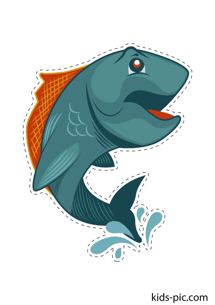 Большая рыбка шаблон для вырезания из бумаги