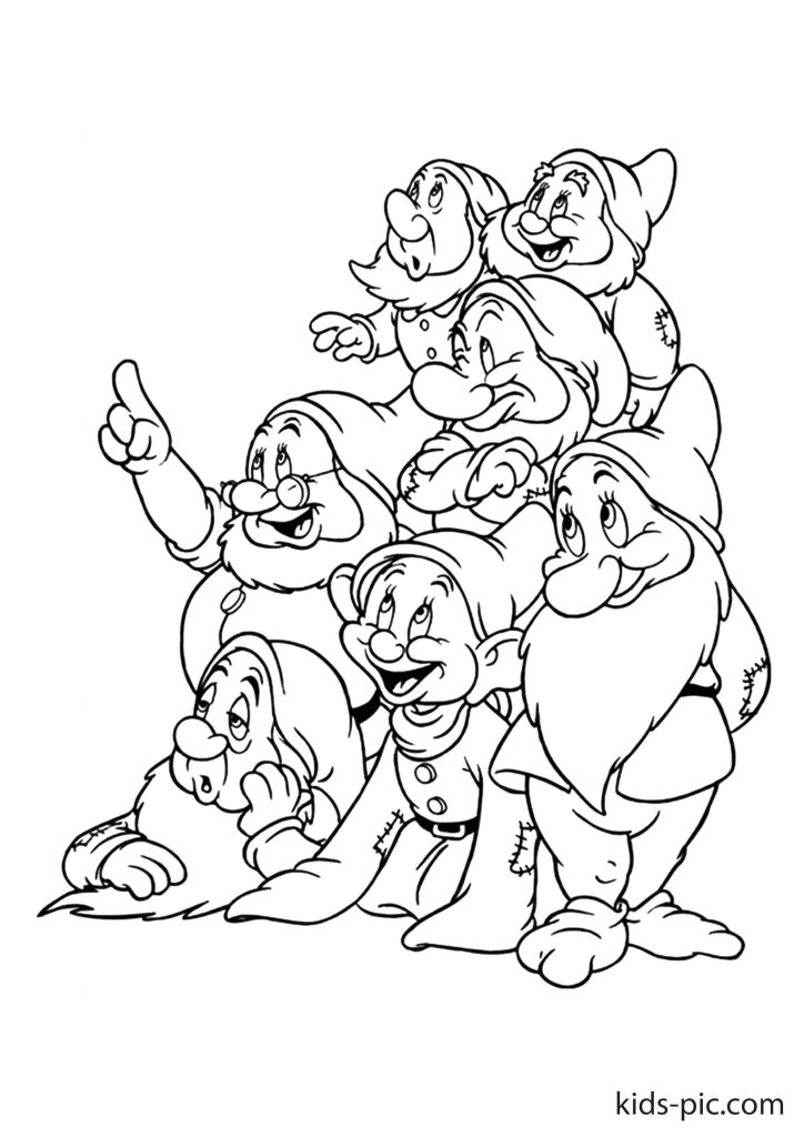 snow white and 7 dwarfs coloring pages