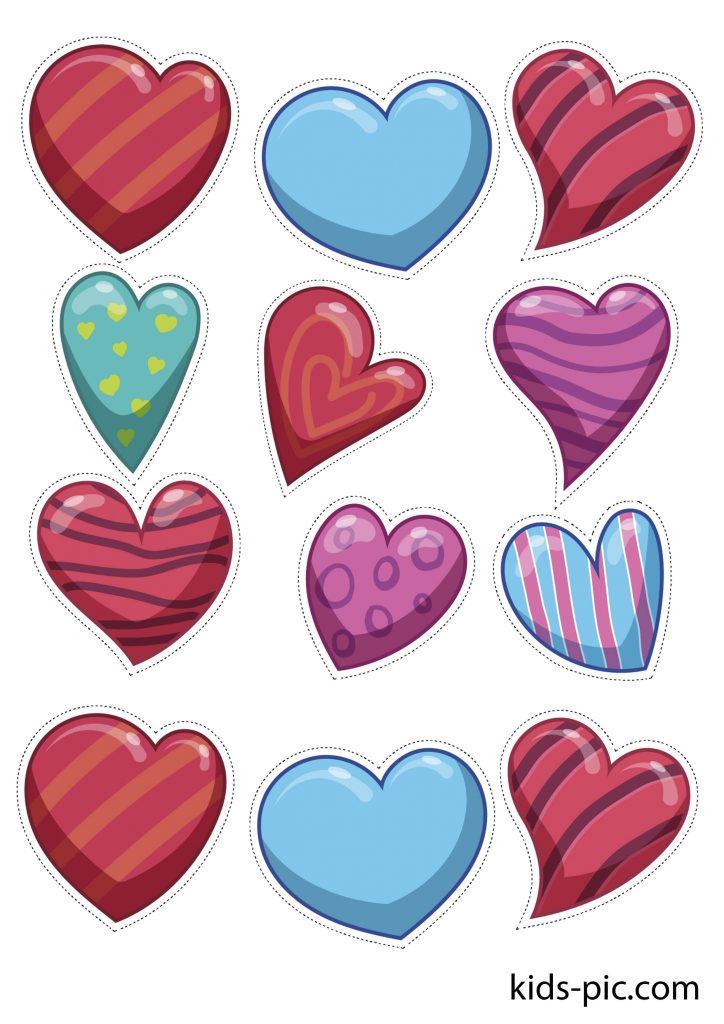 pattern of colored hearts for paper cut out