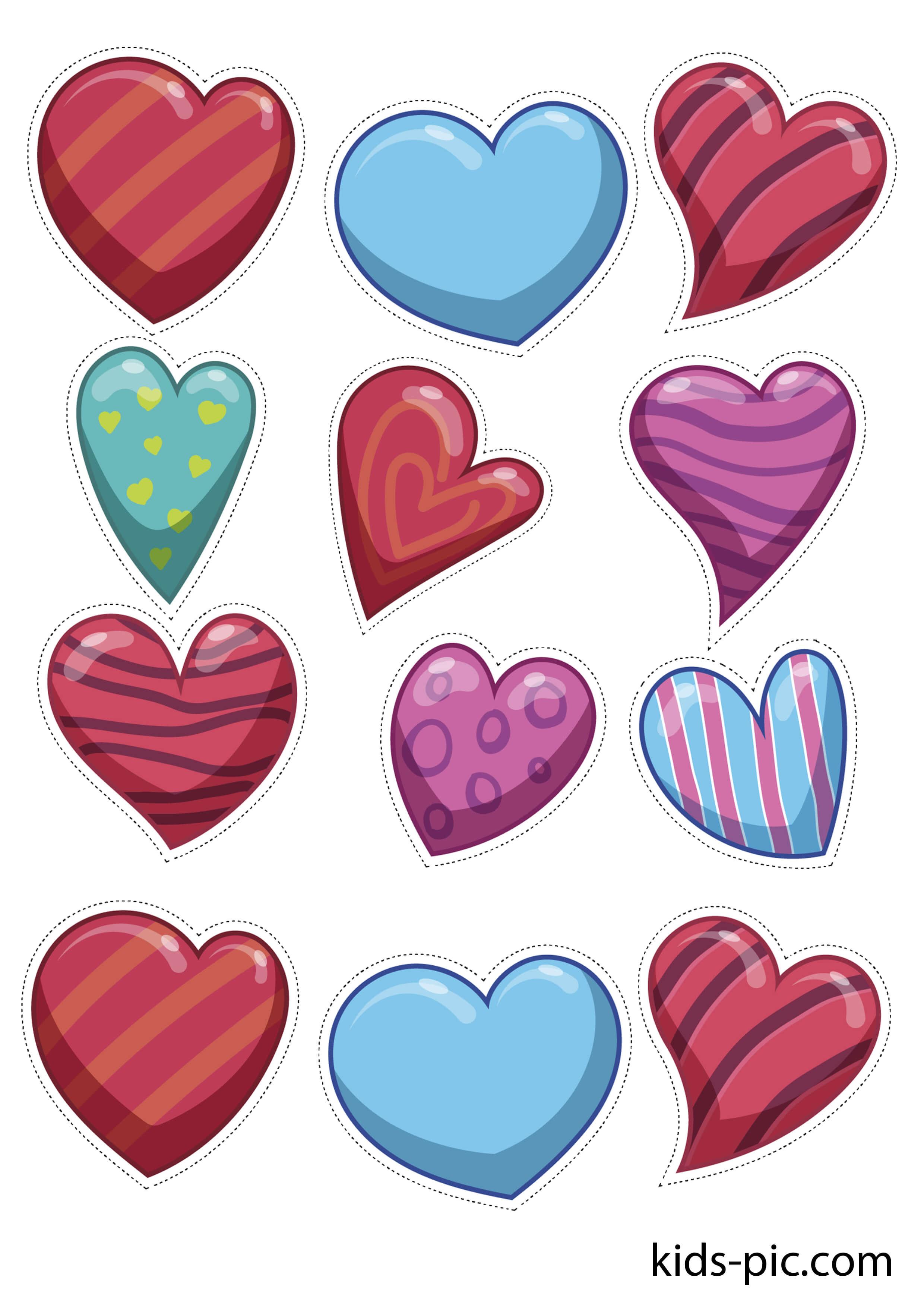 Сердечки картинки красивые распечатать цветные