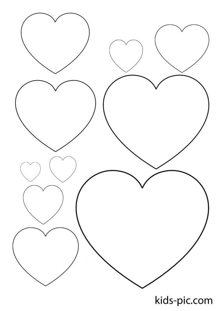 pattern of many hearts of different sizes for cut out