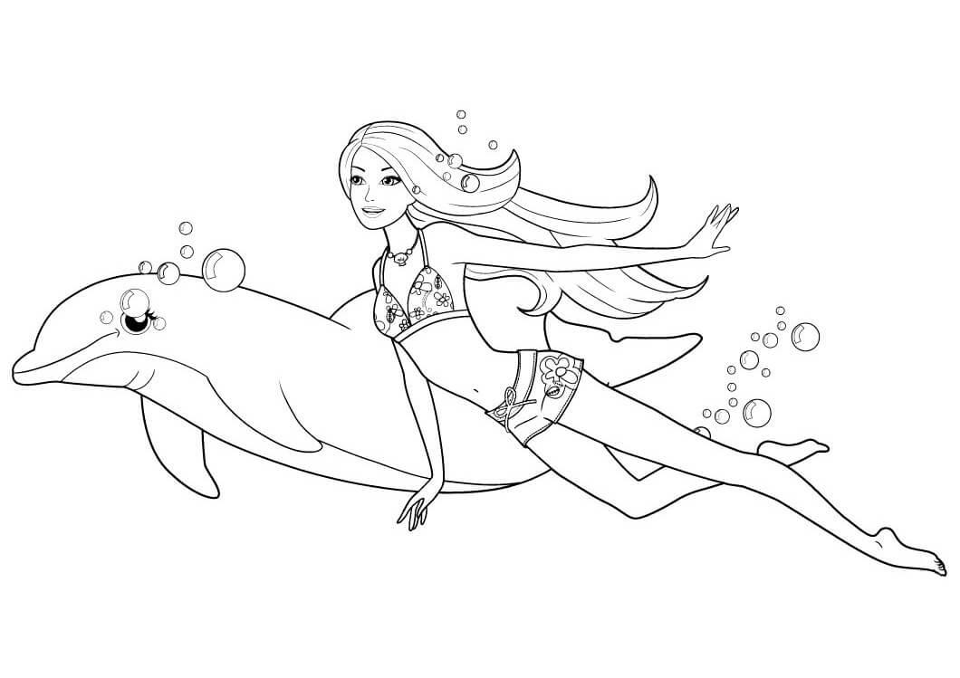раскраска барби русалка с дельфином распечатать