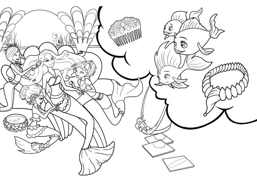 раскраски барби русалки распечатать подготовка к балу