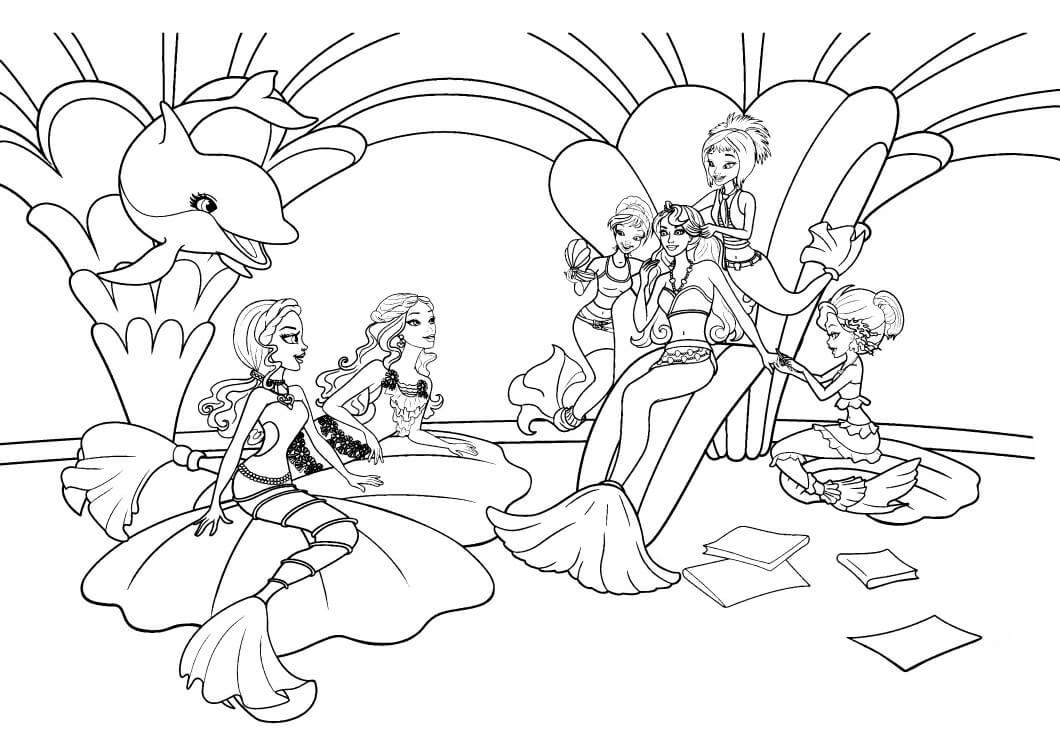 раскраски барби русалки на троне распечатать