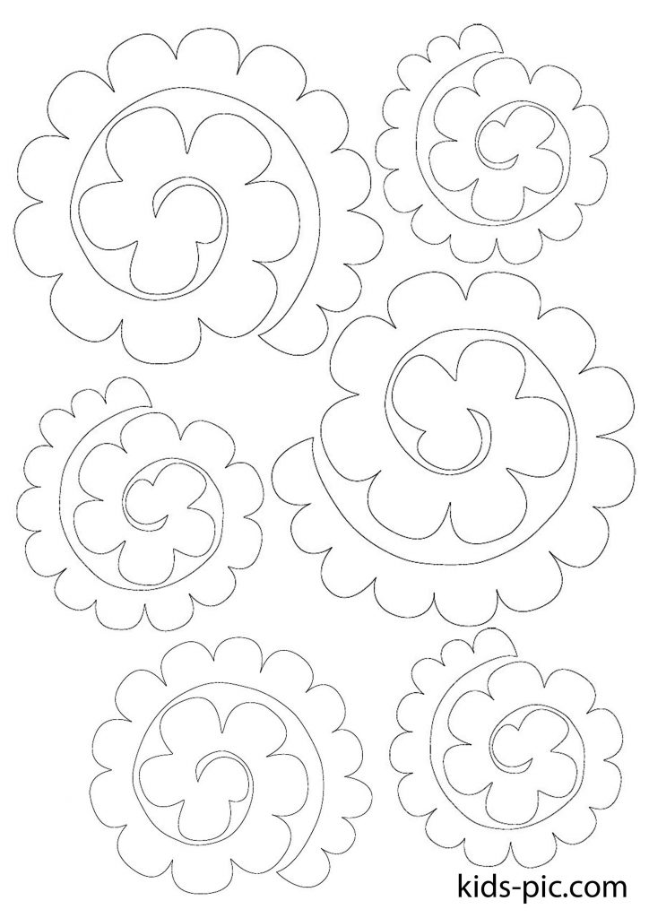 6 rose paper cutout print template