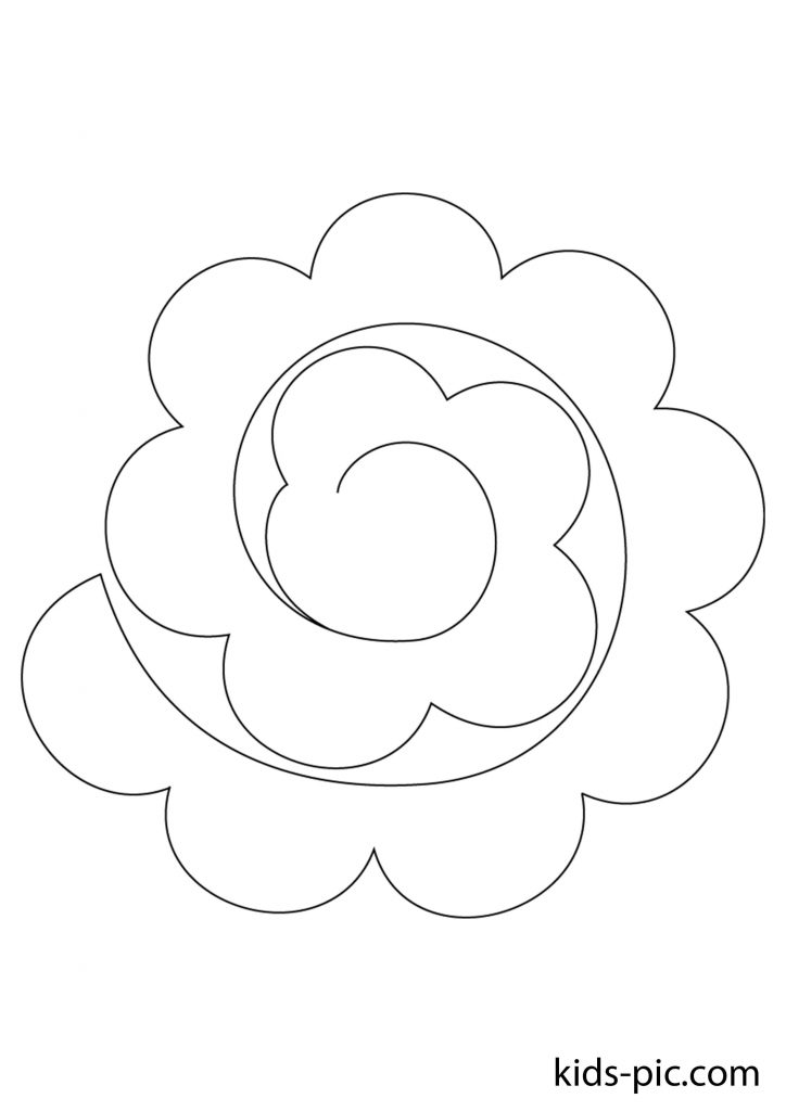 big rose paper cutout print template