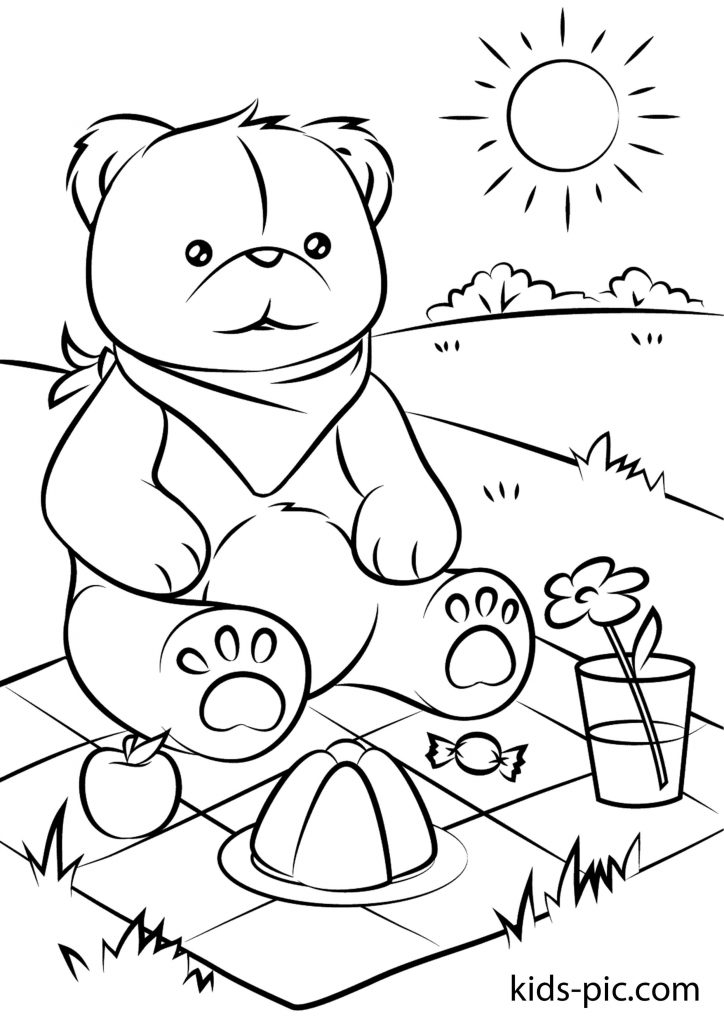 Ведмедик Тедді з букетом розмальовка
