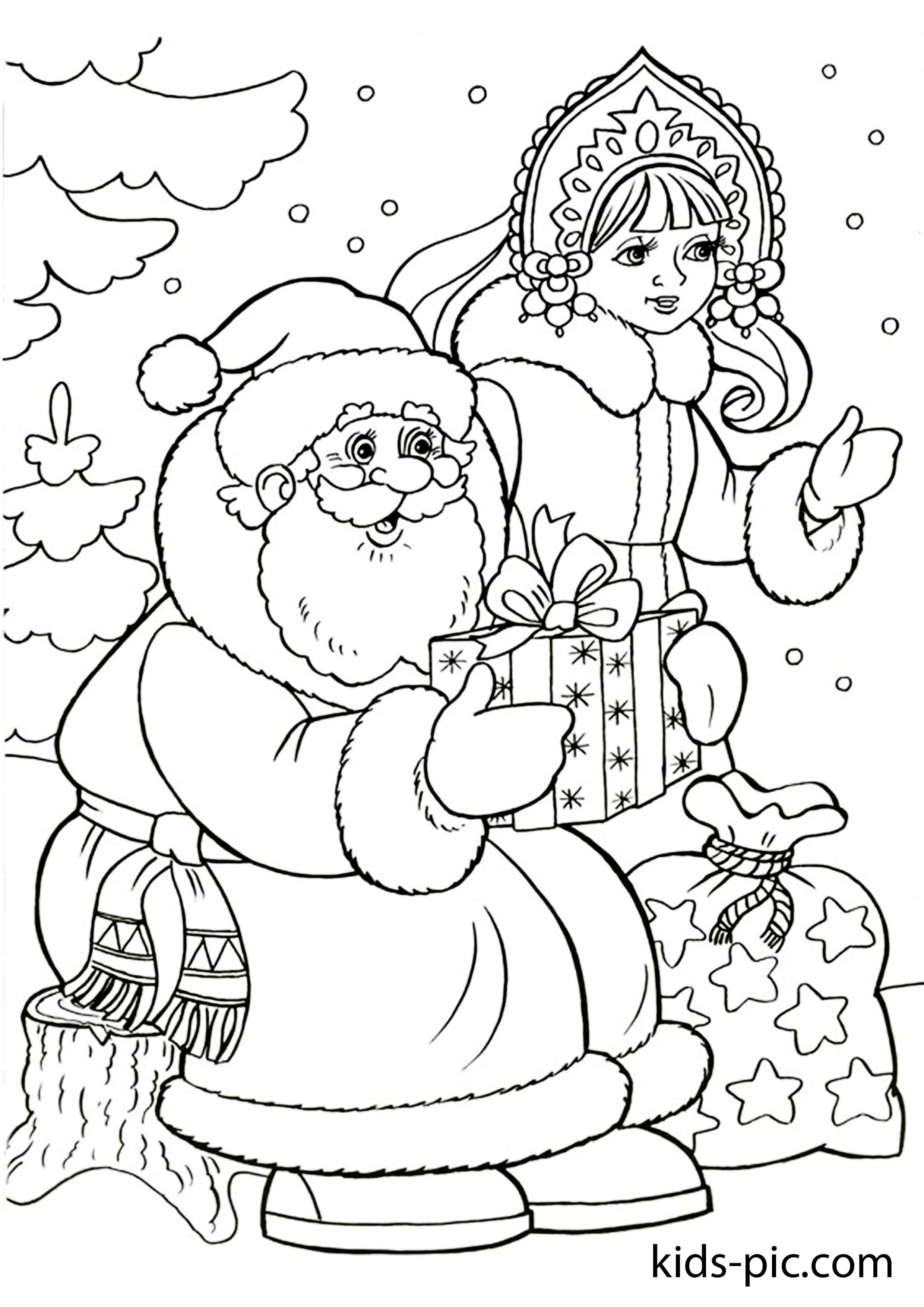 распечатать новогодние раскраски бесплатно Kids Pic Com