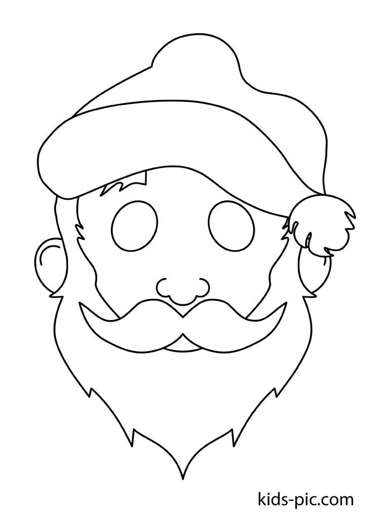 раскраска новогодняя маска Дед Мороз