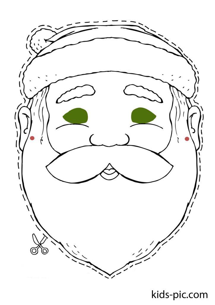 раскраска новогодней маски Дед Мороз распечатать