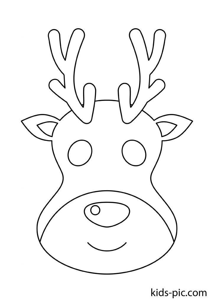 раскраска новогодней маски олень скачать бесплатно