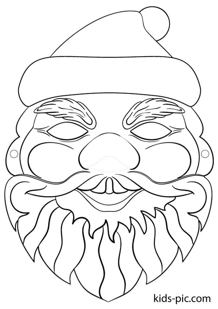 раскраска новогодней маски страшный Дед Мороз