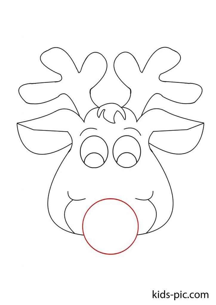 раскраска новогодней маски веселый олень скачать