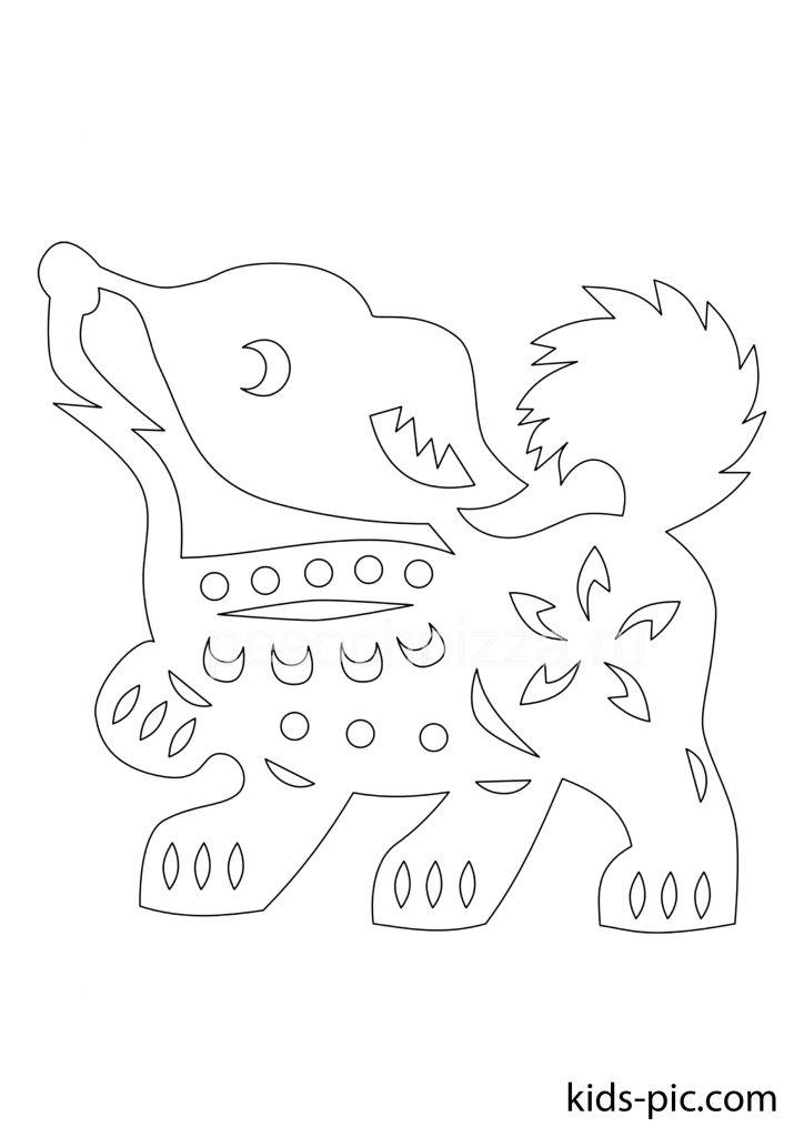 новорічна собака шаблони для вирізання з паперу