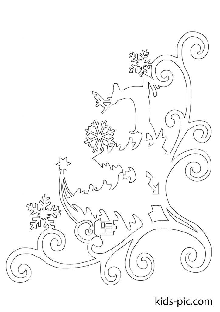 новорічні шаблони на вікна для вирізання з паперу схеми шаблони сани кут