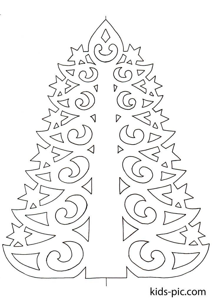 новорічна ялинка трафарет для вирізання з паперу