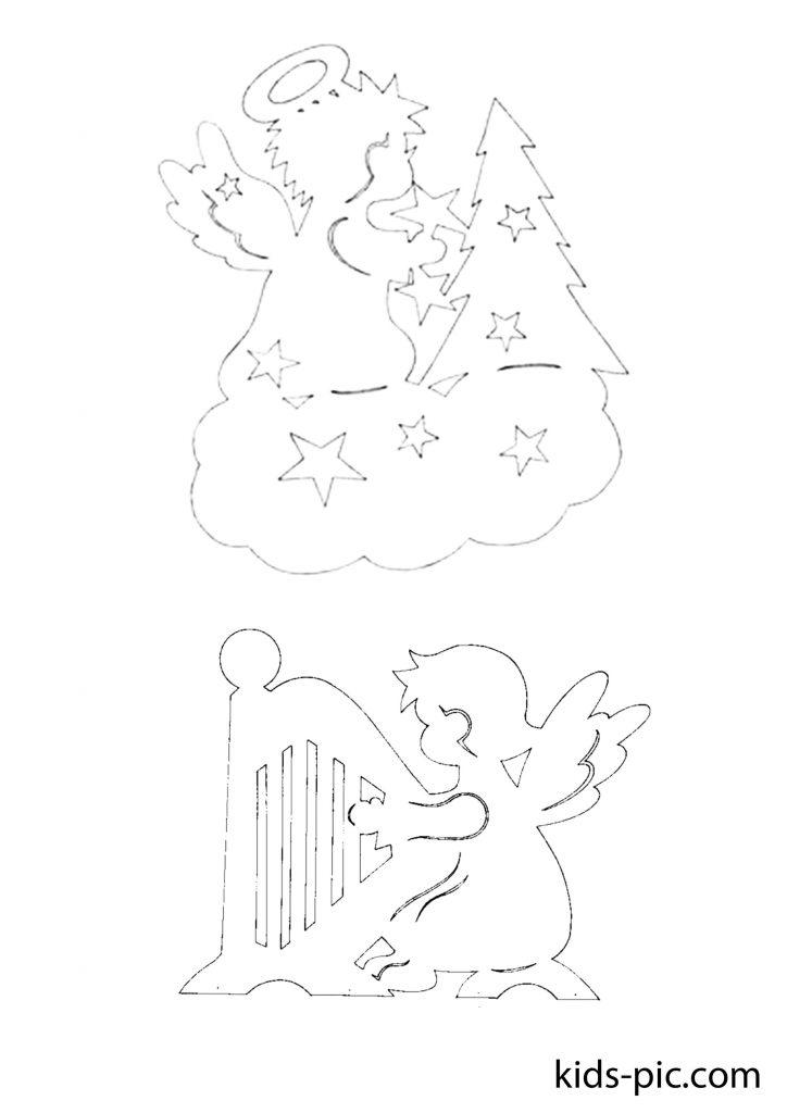 новорічні трафарети ангели для вирізання з паперу