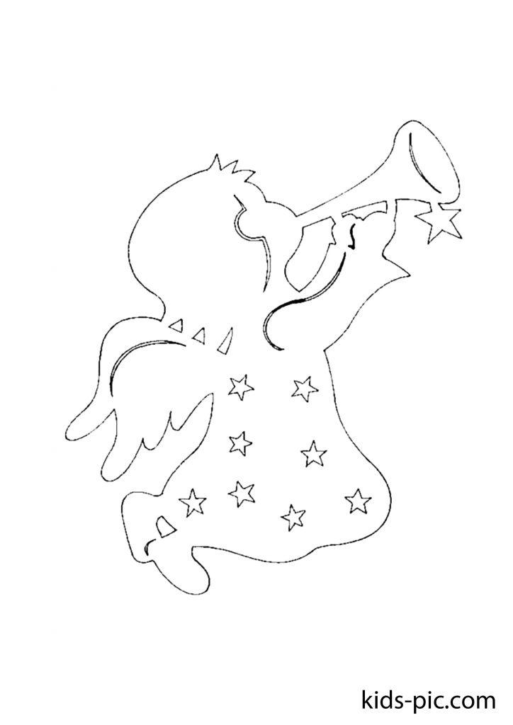 новорічний трафарет ангел шаблони для вирізання з паперу