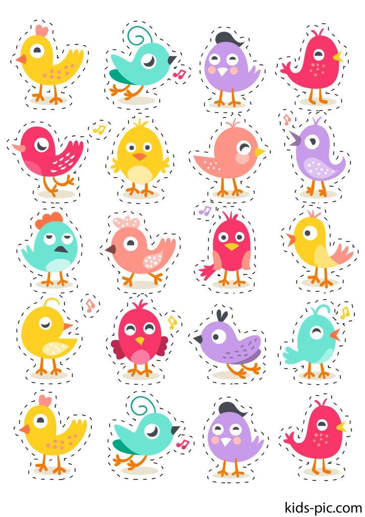 прикольні шаблони пташок для вирізання з паперу