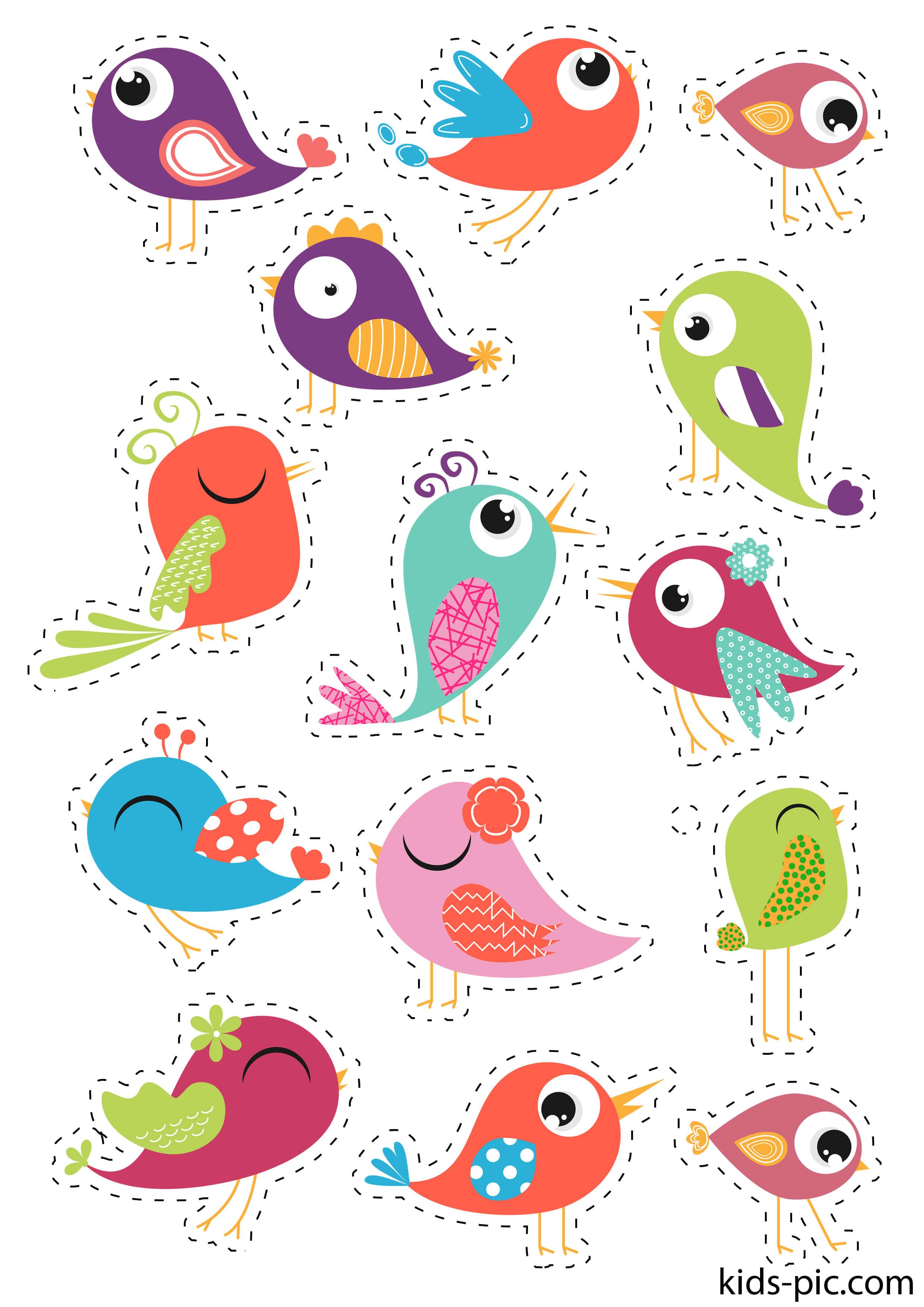 птицы для аппликации шаблоны удовольствие