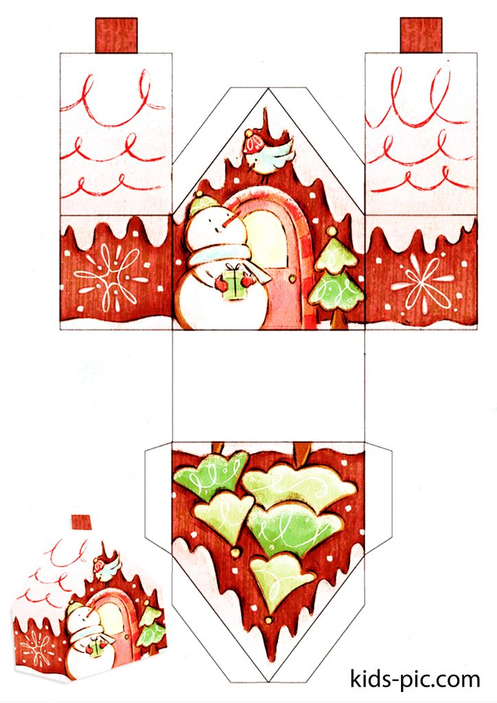 шаблоны пряничных домиков для вырезания из бумаги распечатать