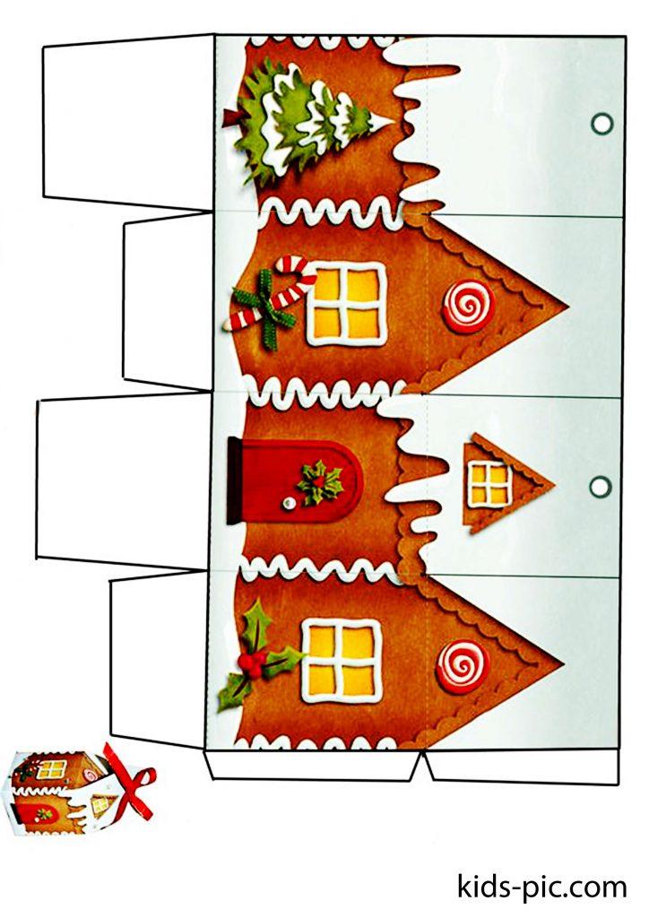 шаблоны пряничных домиков из бумаги елочные игрушки-2
