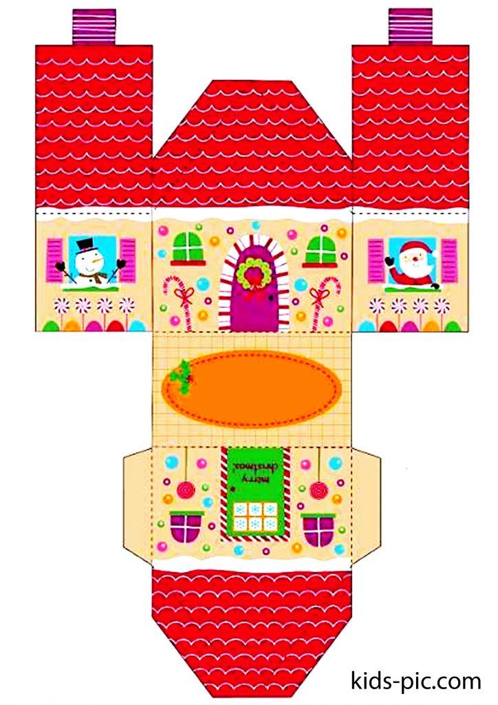 шаблон пряничного домика из бумаги для вырезания-2