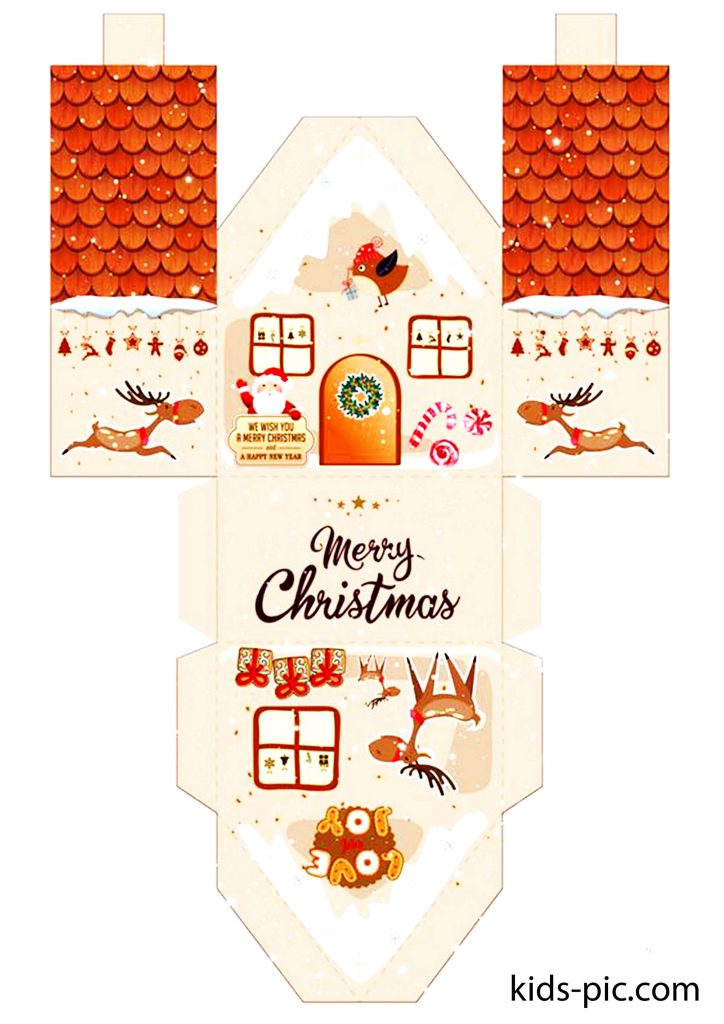 gingerbread house paper craft template