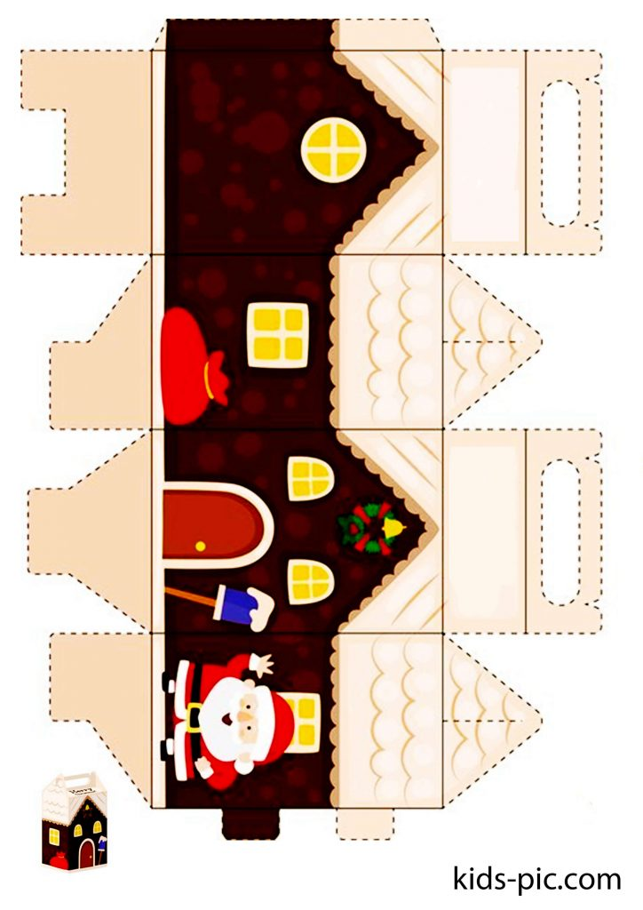 3d paper gingerbread house template