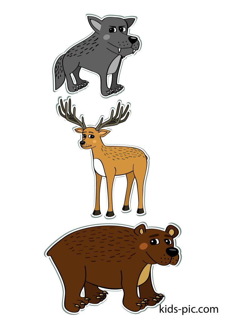 шаблоны животных для вырезания из бумаги распечатать формат а4 волк олень медведь