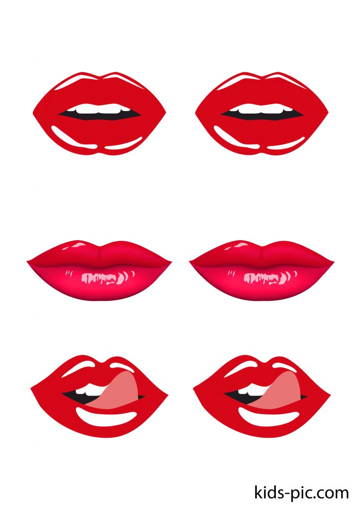 red lips photo cut outs
