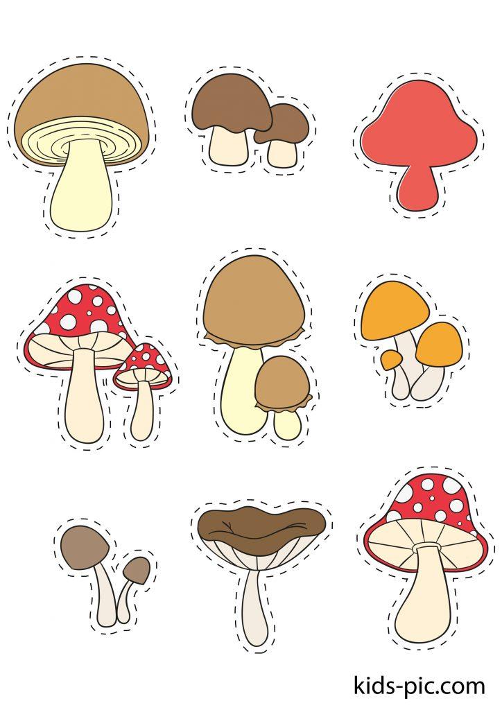 шаблоны грибов разных размеров для вырезания из бумаги