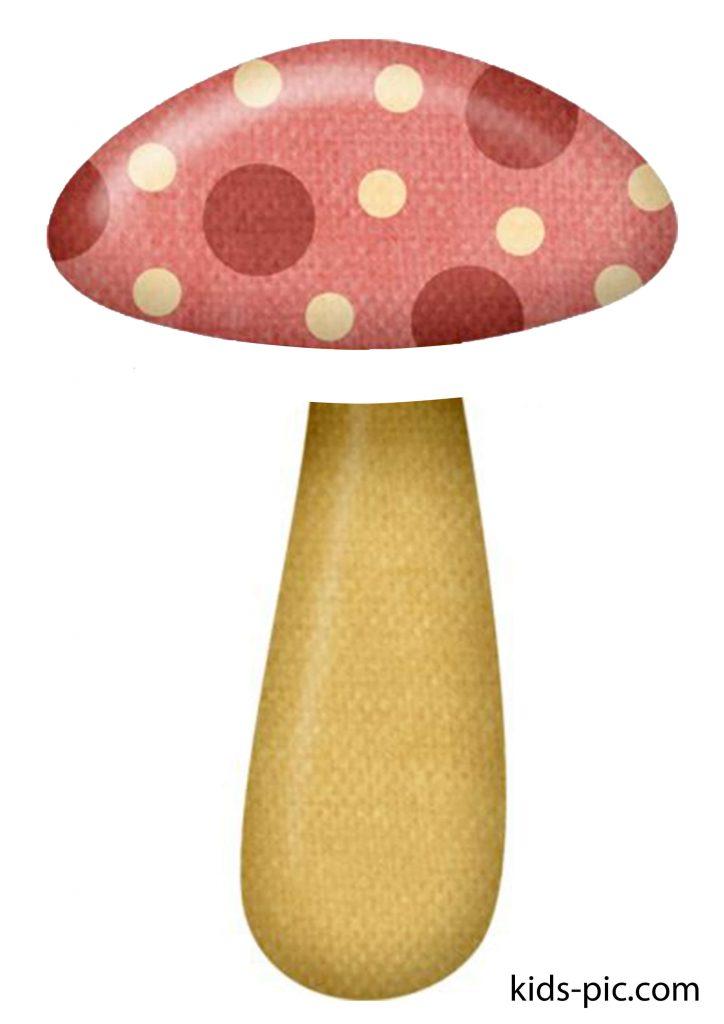 шаблон гриба для вырезания и аппликации из бумаги