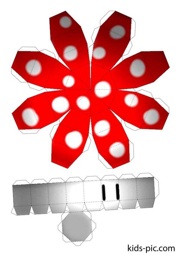 шаблон объемного гриба для вырезания из бумаги