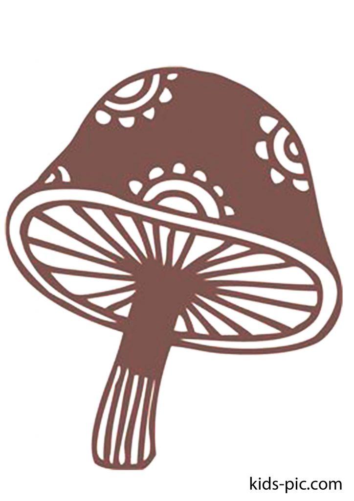шаблон ажурного гриба для вырезания из бумаги