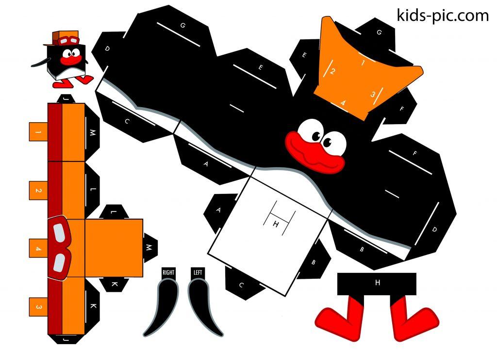 шаблони смішариків для вирізання з паперу Пін іграшка з паперу куб