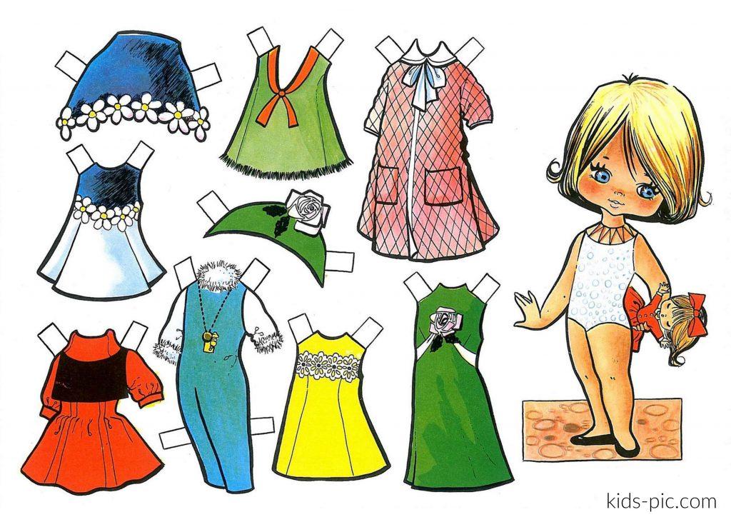 шаблон ляльки і одягу для вирізання з паперу