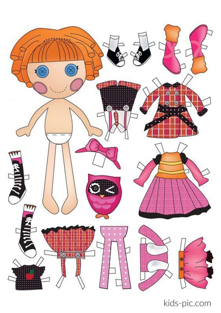 шаблон ляльки з одягом для вирізання з паперу