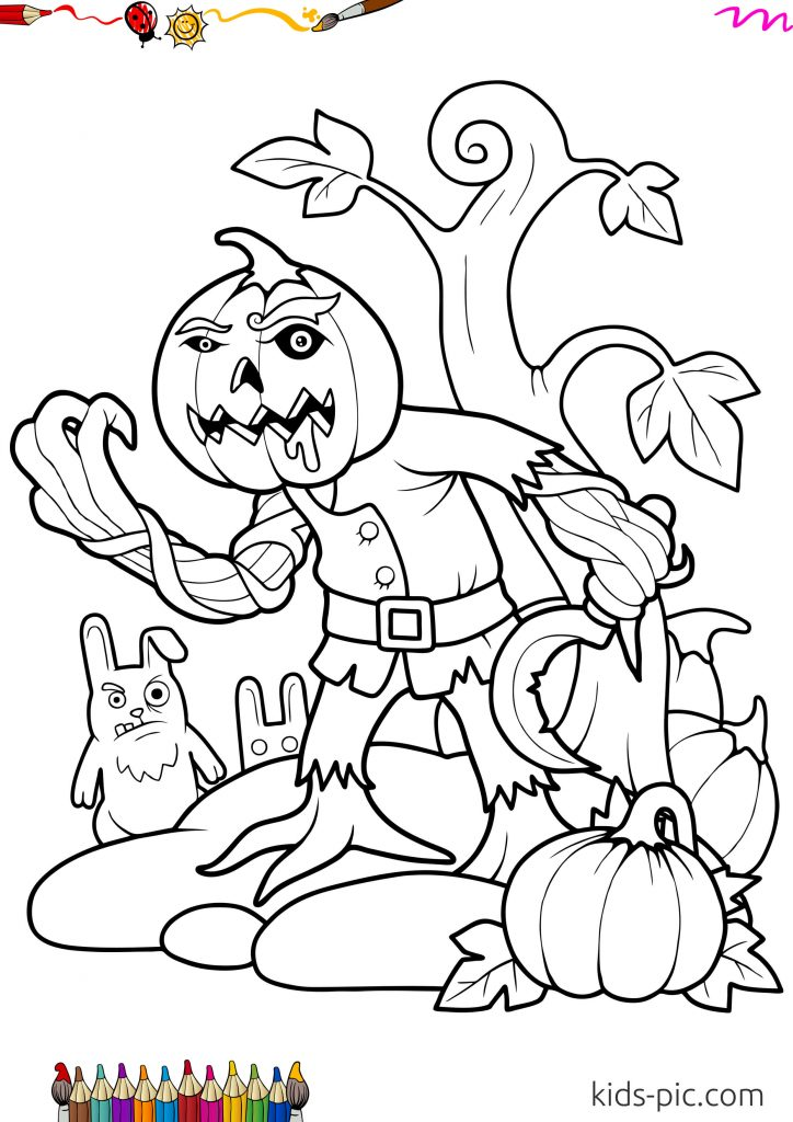 scary halloween pumpkin to color and print