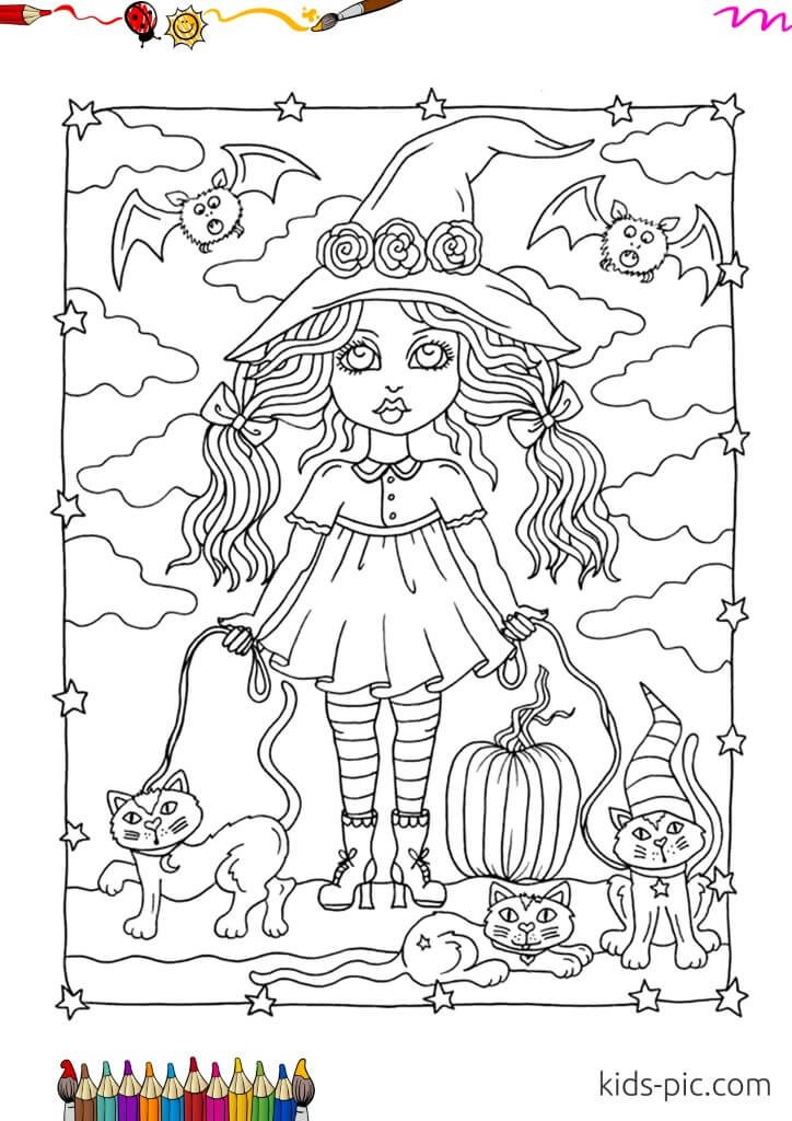 halloween witch outline