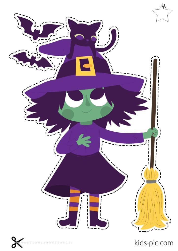 трафареты ведьмы на хэллоуин