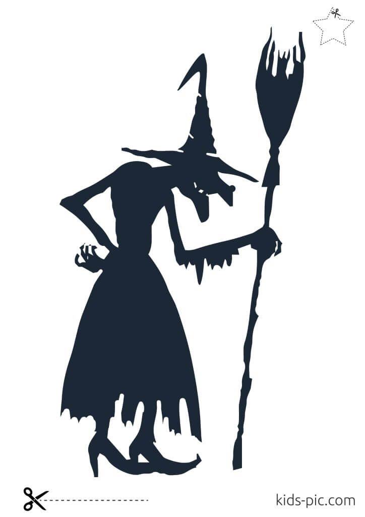 шаблон ведьмы из бумаги на хэллоуин